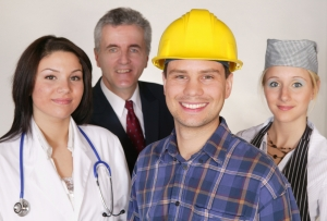 portrait of different professions focus on construction worker